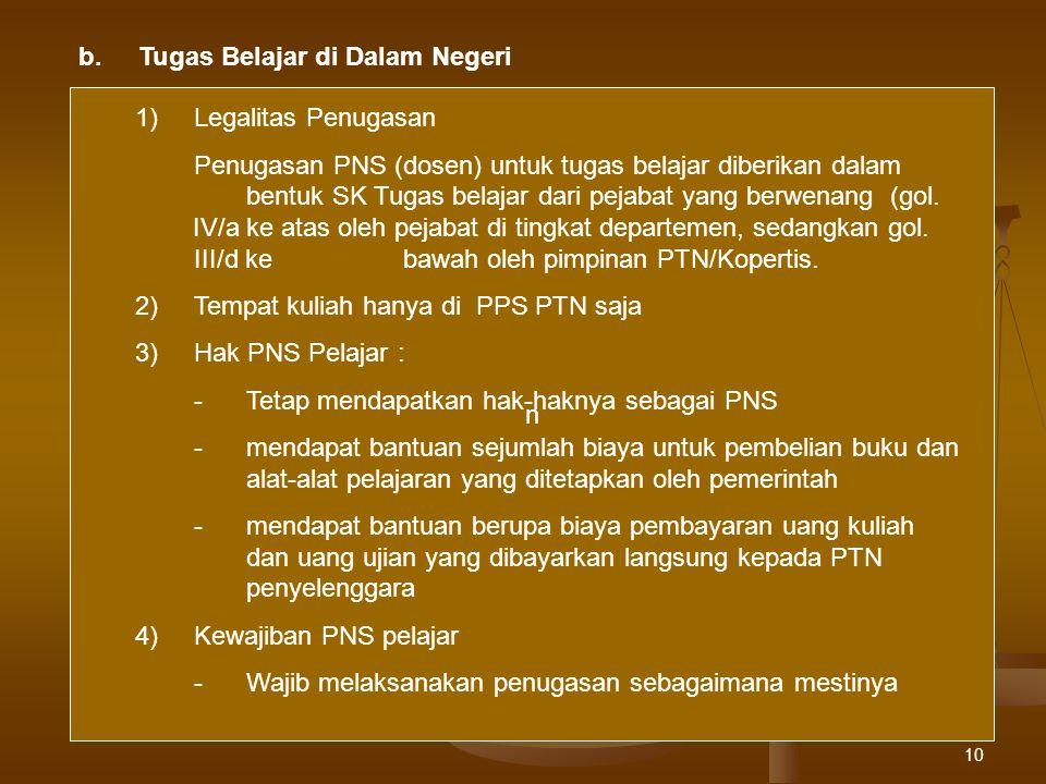10 b.Tugas Belajar di Dalam Negeri n 1)Legalitas Penugasan Penugasan PNS (dosen) untuk tugas belajar diberikan dalam bentuk SK Tugas belajar dari peja