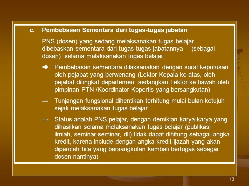 13 c.Pembebasan Sementara dari tugas-tugas jabatan PNS (dosen) yang sedang melaksanakan tugas belajar dibebaskan sementara dari tugas-tugas jabatannya