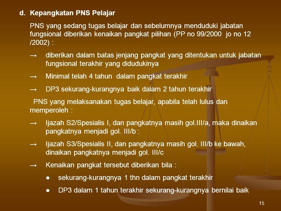 15 d.Kepangkatan PNS Pelajar PNS yang sedang tugas belajar dan sebelumnya menduduki jabatan fungsional diberikan kenaikan pangkat pilihan (PP no 99/20