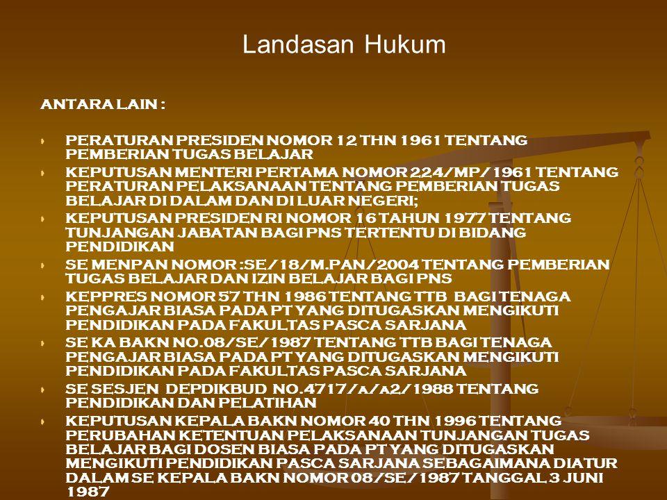 Landasan Hukum ANTARA LAIN :   PERATURAN PRESIDEN NOMOR 12 THN 1961 TENTANG PEMBERIAN TUGAS BELAJAR   KEPUTUSAN MENTERI PERTAMA NOMOR 224/MP/1961