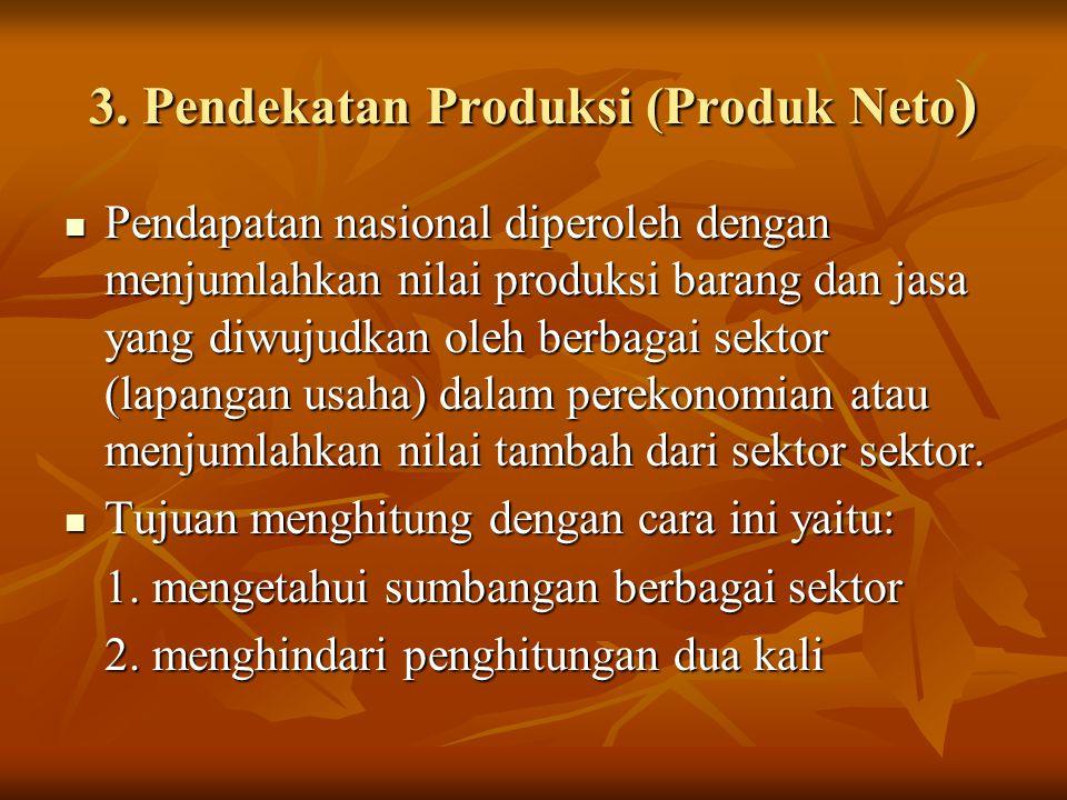 3. Pendekatan Produksi (Produk Neto ) Pendapatan nasional diperoleh dengan menjumlahkan nilai produksi barang dan jasa yang diwujudkan oleh berbagai s