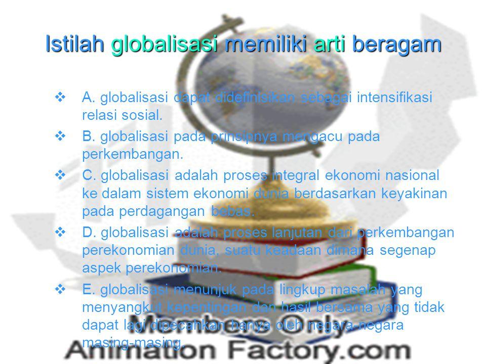 Pengertian globalisasi Globalisasi dari kata globe/global yang berarti dunia. Dapat pula diartikan sebagai hal-hal kejadian secara umum atau keseluruh