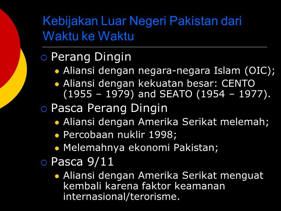 Kebijakan Luar Negeri Pakistan dari Waktu ke Waktu  Perang Dingin Aliansi dengan negara-negara Islam (OIC); Aliansi dengan kekuatan besar: CENTO (195