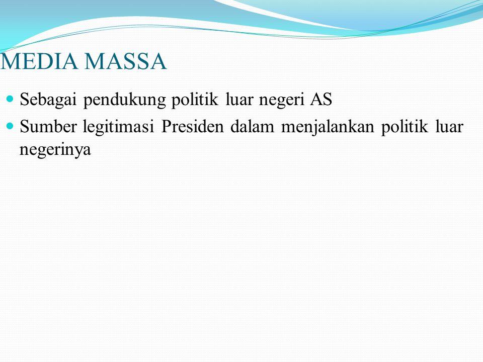 MEDIA MASSA Sebagai pendukung politik luar negeri AS Sumber legitimasi Presiden dalam menjalankan politik luar negerinya