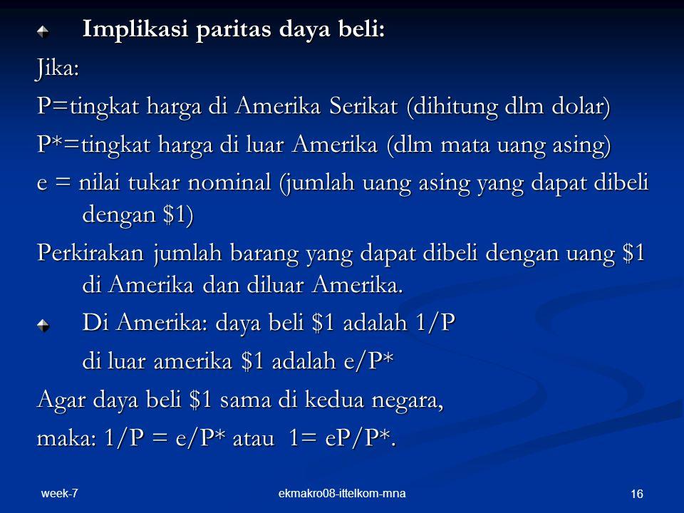 week-7 ekmakro08-ittelkom-mna 16 Implikasi paritas daya beli: Jika: P=tingkat harga di Amerika Serikat (dihitung dlm dolar) P*=tingkat harga di luar A