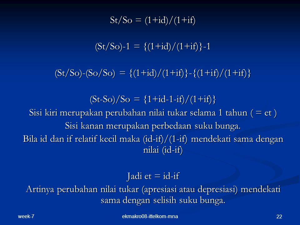 week-7 ekmakro08-ittelkom-mna 22 St/So = (1+id)/(1+if) (St/So)-1 = {(1+id)/(1+if)}-1 (St/So)-(So/So) = {(1+id)/(1+if)}-{(1+if)/(1+if)} (St-So)/So = {1