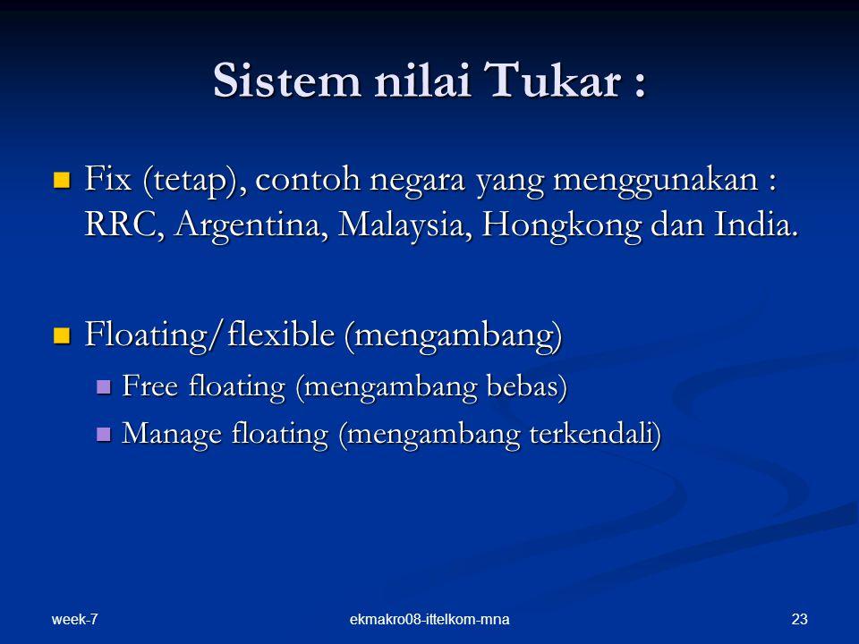 week-7 23ekmakro08-ittelkom-mna Sistem nilai Tukar : Fix (tetap), contoh negara yang menggunakan : RRC, Argentina, Malaysia, Hongkong dan India. Fix (