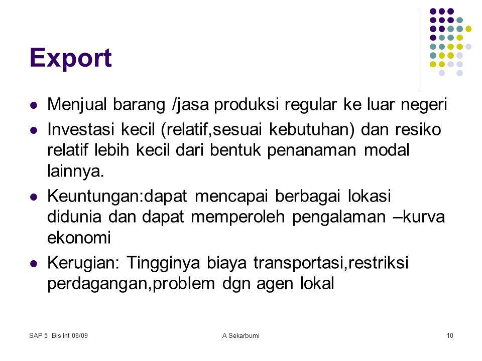 SAP 5 Bis Int 08/09A Sekarbumi10 Export Menjual barang /jasa produksi regular ke luar negeri Investasi kecil (relatif,sesuai kebutuhan) dan resiko rel