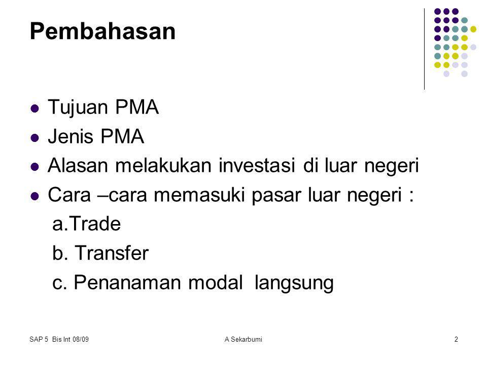 SAP 5 Bis Int 08/09A Sekarbumi2 Pembahasan Tujuan PMA Jenis PMA Alasan melakukan investasi di luar negeri Cara –cara memasuki pasar luar negeri : a.Tr
