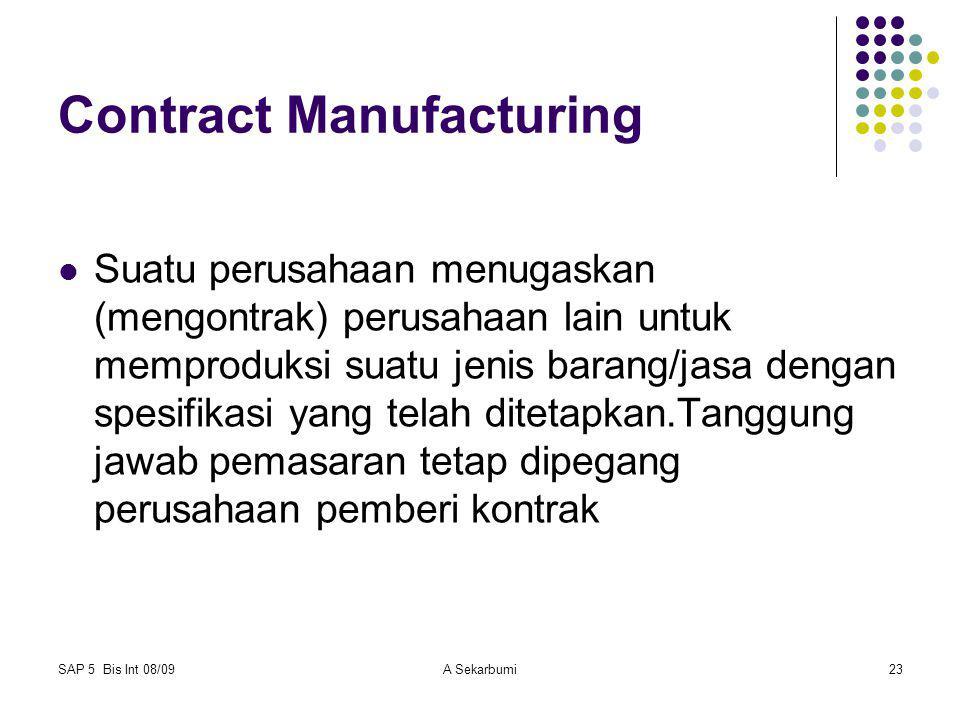 SAP 5 Bis Int 08/09A Sekarbumi23 Contract Manufacturing Suatu perusahaan menugaskan (mengontrak) perusahaan lain untuk memproduksi suatu jenis barang/