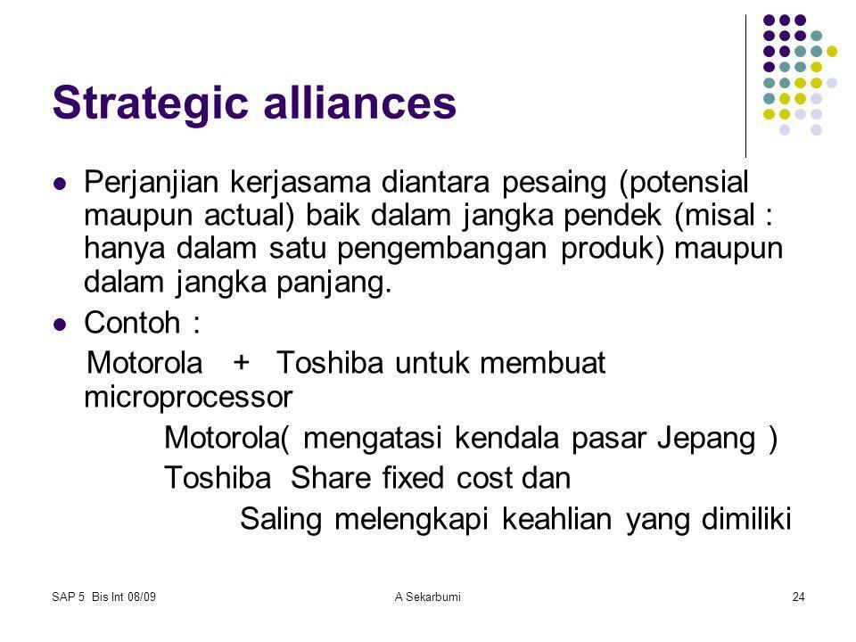 SAP 5 Bis Int 08/09A Sekarbumi24 Strategic alliances Perjanjian kerjasama diantara pesaing (potensial maupun actual) baik dalam jangka pendek (misal :