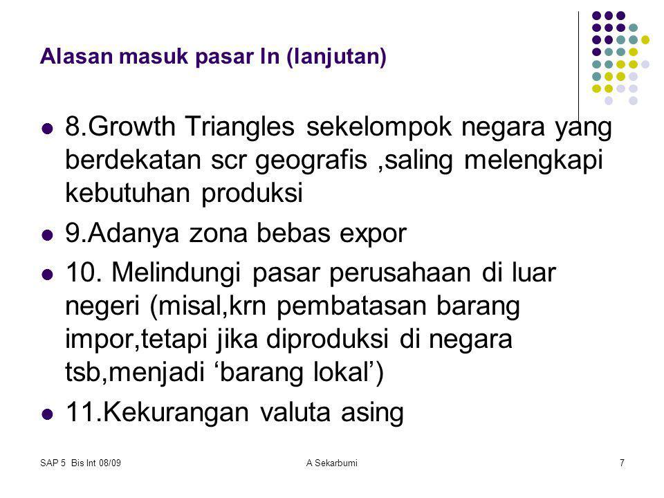 SAP 5 Bis Int 08/09A Sekarbumi7 Alasan masuk pasar ln (lanjutan) 8.Growth Triangles sekelompok negara yang berdekatan scr geografis,saling melengkapi