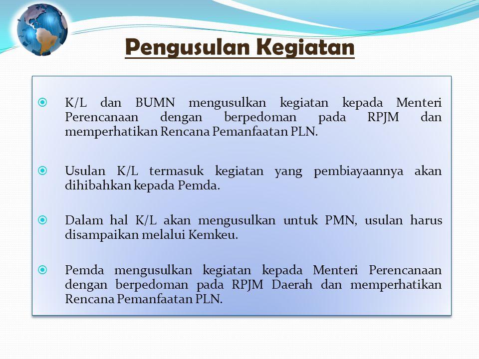 Pengusulan Kegiatan  K/L dan BUMN mengusulkan kegiatan kepada Menteri Perencanaan dengan berpedoman pada RPJM dan memperhatikan Rencana Pemanfaatan PLN.