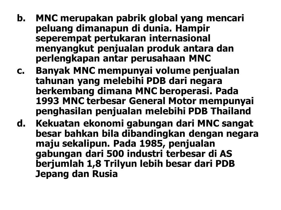 b.MNC merupakan pabrik global yang mencari peluang dimanapun di dunia. Hampir seperempat pertukaran internasional menyangkut penjualan produk antara d