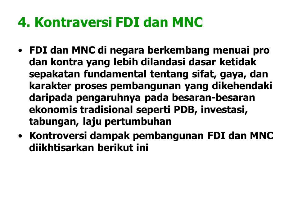 4. Kontraversi FDI dan MNC FDI dan MNC di negara berkembang menuai pro dan kontra yang lebih dilandasi dasar ketidak sepakatan fundamental tentang sif