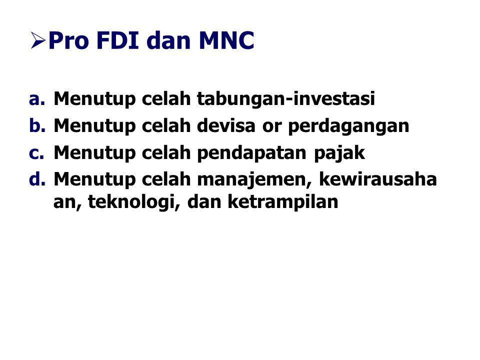  Pro FDI dan MNC a.Menutup celah tabungan-investasi b.Menutup celah devisa or perdagangan c.Menutup celah pendapatan pajak d.Menutup celah manajemen,
