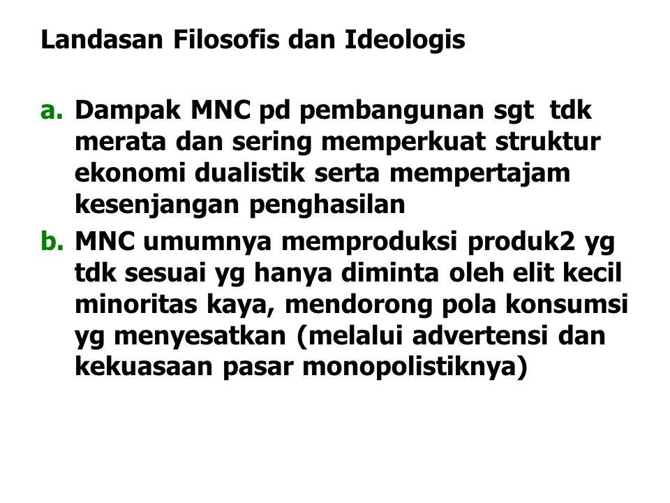 Landasan Filosofis dan Ideologis a.Dampak MNC pd pembangunan sgt tdk merata dan sering memperkuat struktur ekonomi dualistik serta mempertajam kesenja