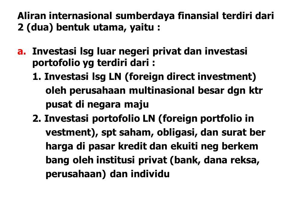 Aliran internasional sumberdaya finansial terdiri dari 2 (dua) bentuk utama, yaitu : a.Investasi lsg luar negeri privat dan investasi portofolio yg te