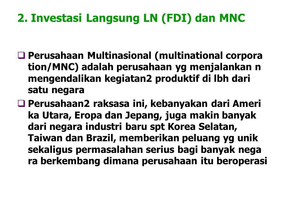 2. Investasi Langsung LN (FDI) dan MNC  Perusahaan Multinasional (multinational corpora tion/MNC) adalah perusahaan yg menjalankan n mengendalikan ke