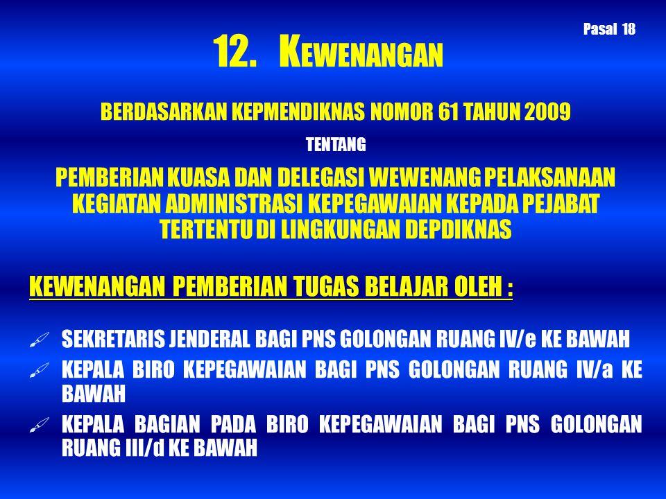 BERDASARKAN KEPMENDIKNAS NOMOR 61 TAHUN 2009 TENTANG PEMBERIAN KUASA DAN DELEGASI WEWENANG PELAKSANAAN KEGIATAN ADMINISTRASI KEPEGAWAIAN KEPADA PEJABA