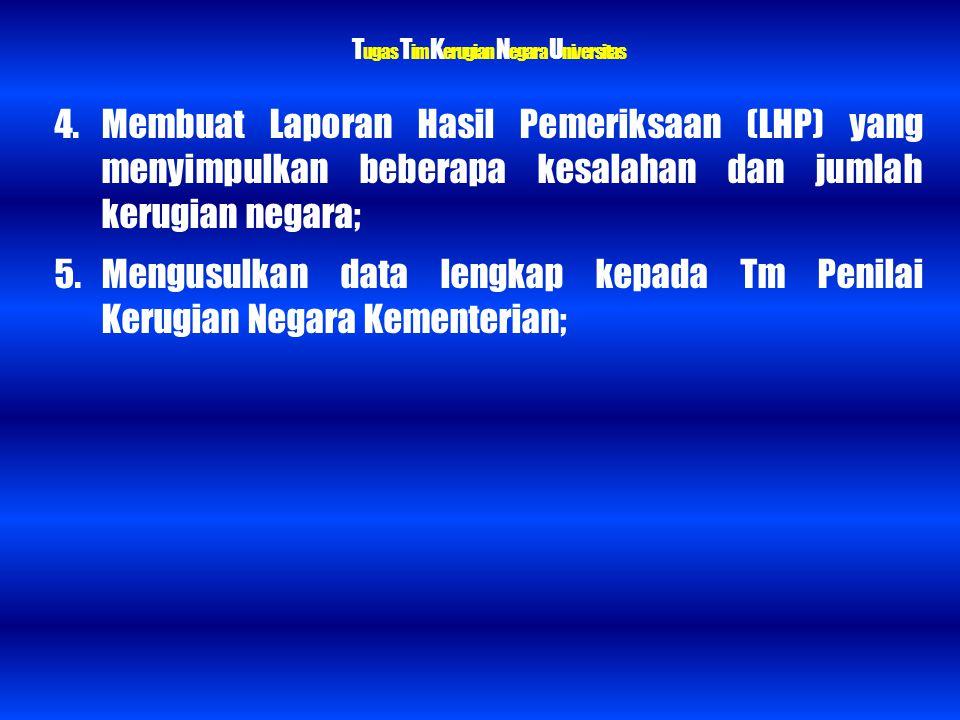 T ugas T im K erugian N egara U niversitas 4. Membuat Laporan Hasil Pemeriksaan (LHP) yang menyimpulkan beberapa kesalahan dan jumlah kerugian negara;