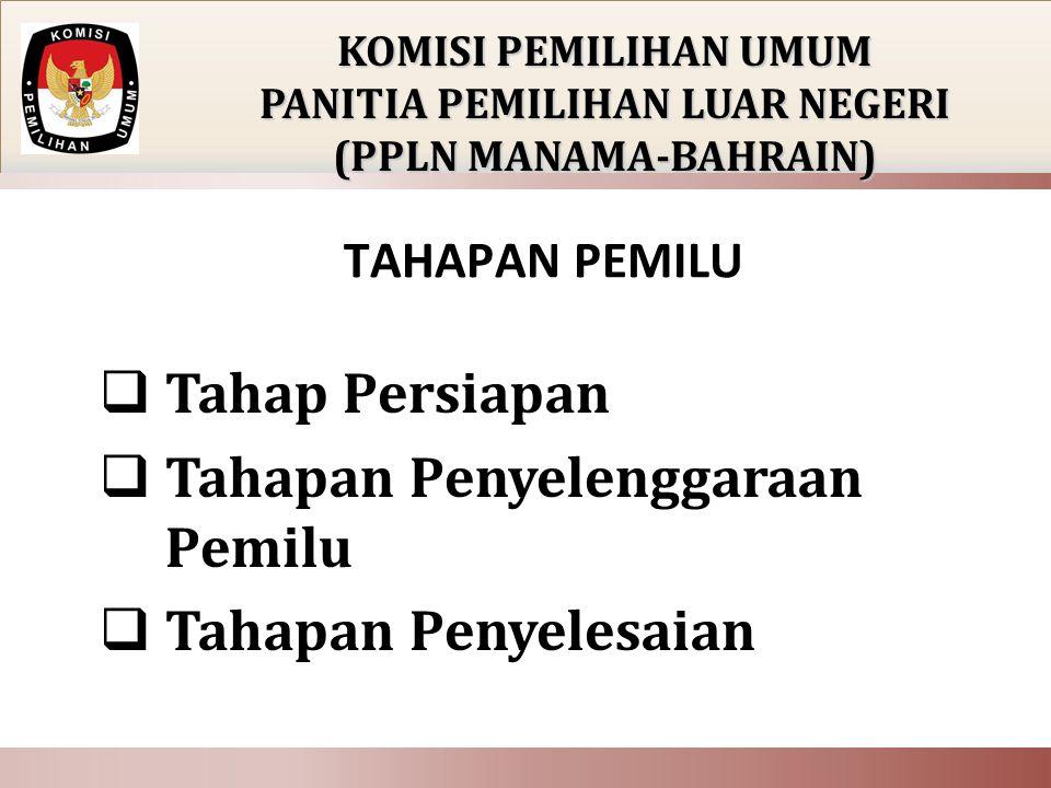 TAHAPAN PEMILU  Tahap Persiapan  Tahapan Penyelenggaraan Pemilu  Tahapan Penyelesaian KOMISI PEMILIHAN UMUM PANITIA PEMILIHAN LUAR NEGERI (PPLN MAN