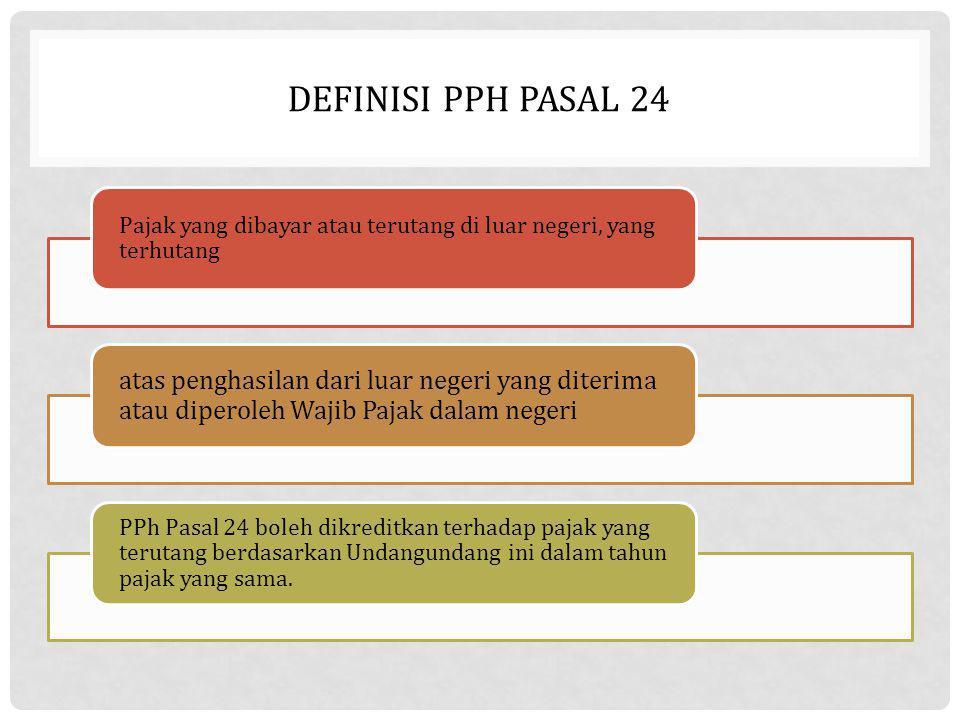 DEFINISI PPH PASAL 24 Pajak yang dibayar atau terutang di luar negeri, yang terhutang atas penghasilan dari luar negeri yang diterima atau diperoleh W