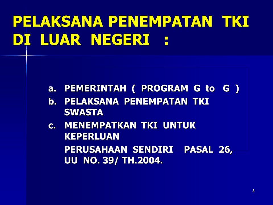 33 PPTKIS PENYIAPAN DOKUMEN : -Paspor -Visa Kerja -Perjanjian Kerja ( P.K ) -Asuransi -Dana Pembinaan TKI US $15 -Sertifikat PAP -Rekening Tabungan -Tiket Perjalanan -Sertifkat Uji Kompetensi BP3TKI / UPT P3TKI DAERAH ASAL/EMBARKASI KTKLN dengan Syarat : -Permohonan Dirut -Paspor -Visa Kerja -Perjanjian Kerja ( P.K ) -Asuransi -Dana Pembinaan TKI US $15 -Sertifikat PAP -Rekening Tabungan -Tiket Perjalanan -Sertifkat Uji Kompetensi -Surat Ijin Keluarga -Pengantar CTKI luar Jatim PPTKIS Memberangkatkan TKI ke LN Melaporkan ke Perwakilan RI di LN dan daerah asal TKI PELABUHAN KEDATANGAN DI LUAR NEGERI Mitra Usaha / Pengguna dan Perwakilan Luar Negeri menjemput TKI serta melaporkan kedatangan TKI ke Perwakilan RI