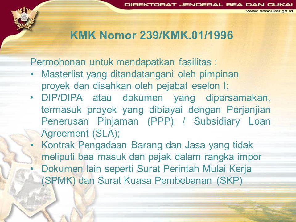 KMK Nomor 239/KMK.01/1996 DEFINISI Proyek pemerintah adalah proyek yang tercantum dalam daftar isian proyek (DIP)/ Daftar Isian Pelaksanaan Anggaran (