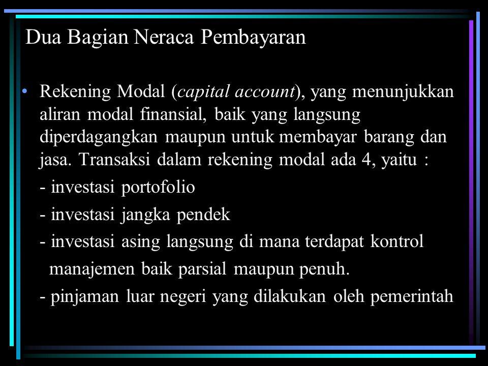 Dua Bagian Neraca Pembayaran Rekening Modal (capital account), yang menunjukkan aliran modal finansial, baik yang langsung diperdagangkan maupun untuk