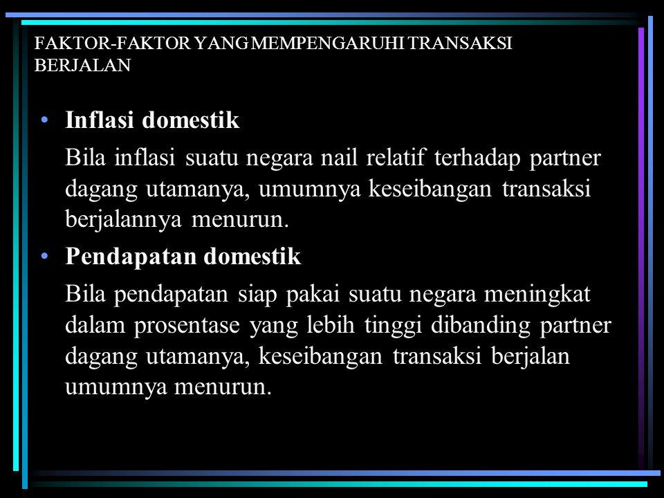 FAKTOR-FAKTOR YANG MEMPENGARUHI TRANSAKSI BERJALAN Inflasi domestik Bila inflasi suatu negara nail relatif terhadap partner dagang utamanya, umumnya k