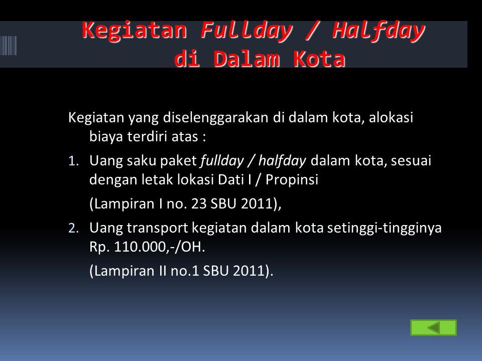 Kegiatan Fullday / Halfday di Dalam Kota Kegiatan yang diselenggarakan di dalam kota, alokasi biaya terdiri atas : 1. Uang saku paket fullday / halfda