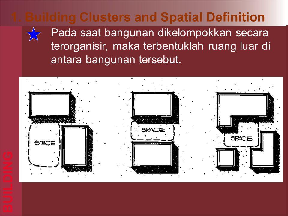 BUILDING Pada saat bangunan dikelompokkan secara terorganisir, maka terbentuklah ruang luar di antara bangunan tersebut.