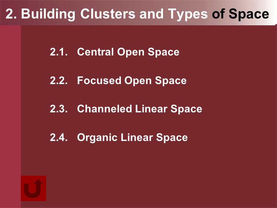 2. Building Clusters and Types of Space 2.1.Central Open Space 2.2.Focused Open Space 2.3.Channeled Linear Space 2.4.Organic Linear Space