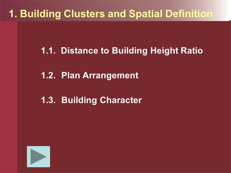 BUILDING Ruang paling intimate mempunyai rasio jarak terhadap tinggi bangunan adalah 3:1.