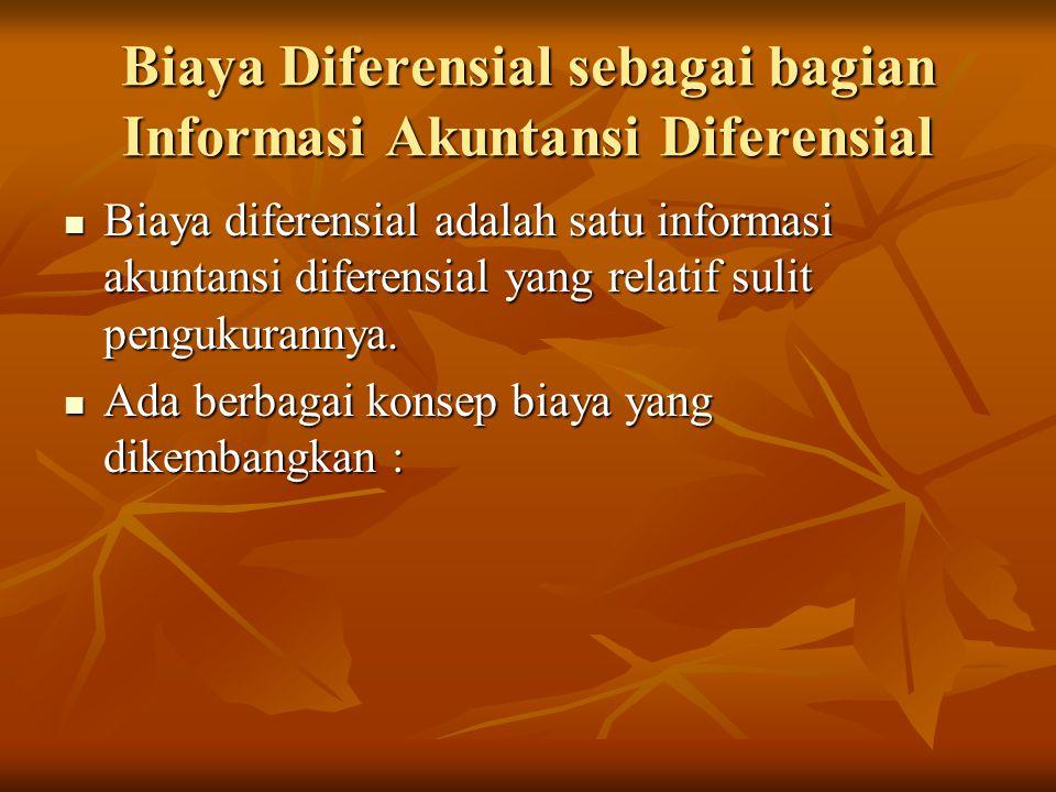 Biaya Diferensial sebagai bagian Informasi Akuntansi Diferensial Biaya diferensial adalah satu informasi akuntansi diferensial yang relatif sulit pengukurannya.