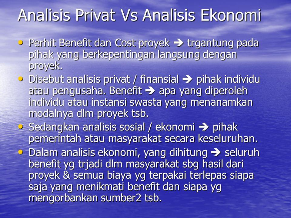 Analisis Privat Vs Analisis Ekonomi Perhit Benefit dan Cost proyek  trgantung pada pihak yang berkepentingan langsung dengan proyek. Perhit Benefit d
