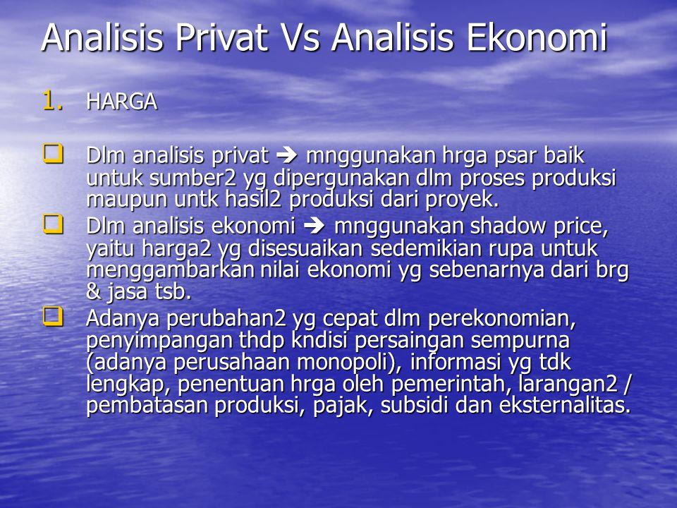 1. HARGA  Dlm analisis privat  mnggunakan hrga psar baik untuk sumber2 yg dipergunakan dlm proses produksi maupun untk hasil2 produksi dari proyek.