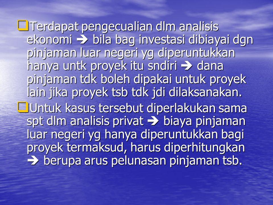  Terdapat pengecualian dlm analisis ekonomi  bila bag investasi dibiayai dgn pinjaman luar negeri yg diperuntukkan hanya untk proyek itu sndiri  dana pinjaman tdk boleh dipakai untuk proyek lain jika proyek tsb tdk jdi dilaksanakan.