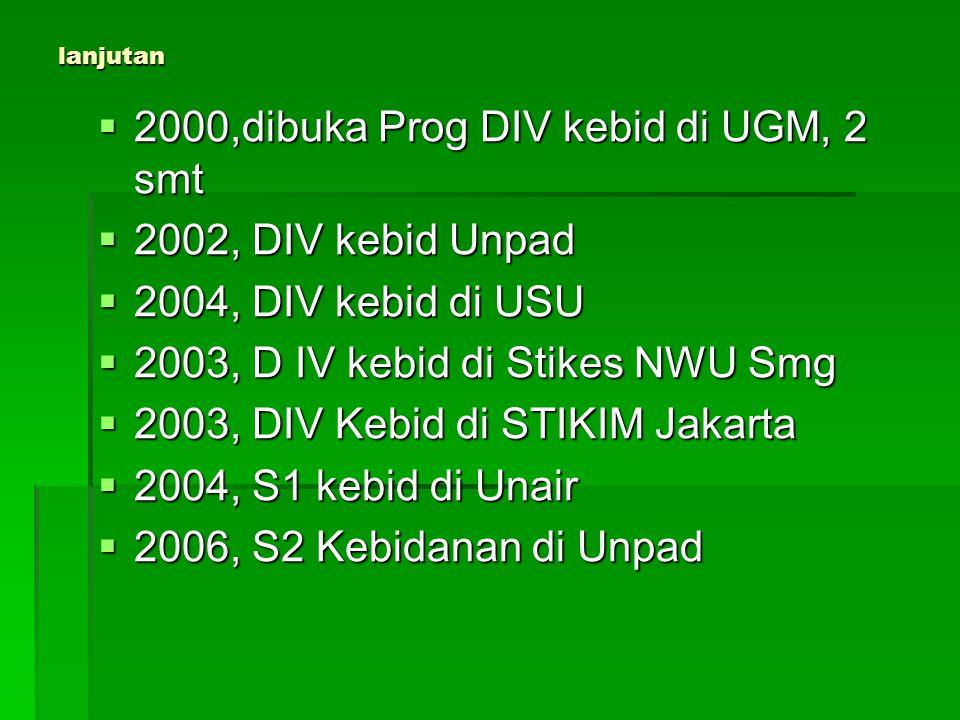 lanjutan  2000,dibuka Prog DIV kebid di UGM, 2 smt  2002, DIV kebid Unpad  2004, DIV kebid di USU  2003, D IV kebid di Stikes NWU Smg  2003, DIV