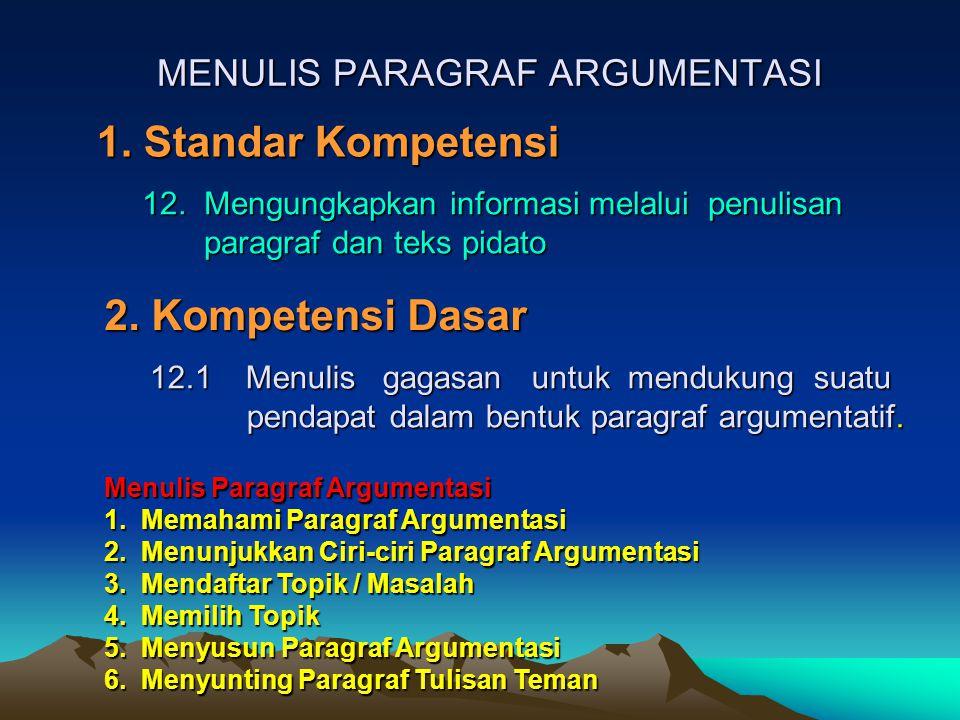 MENULIS PARAGRAF ARGUMENTASI 1.Standar Kompetensi 2.