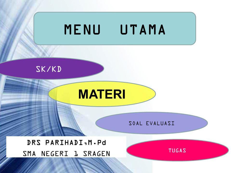 Page 1 MENU UTAMA SK/KD MATERI SOAL EVALUASI TUGAS DRS PARIHADI,M.Pd SMA NEGERI 1 SRAGEN