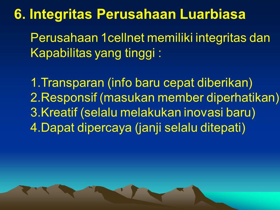 6. Integritas Perusahaan Luarbiasa Perusahaan 1cellnet memiliki integritas dan Kapabilitas yang tinggi : 1.Transparan (info baru cepat diberikan) 2.Re