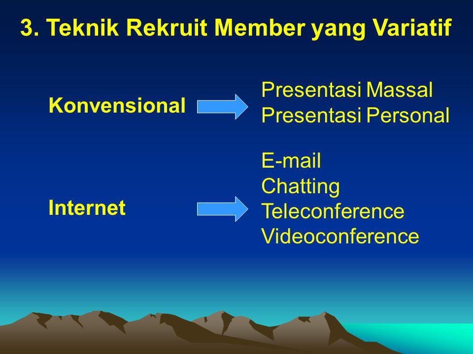 3. Teknik Rekruit Member yang Variatif Konvensional Presentasi Massal Presentasi Personal Internet E-mail Chatting Teleconference Videoconference