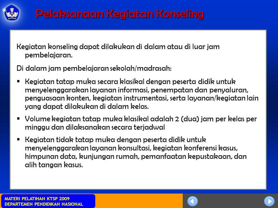 MATERI PELATIHAN KTSP 2009 DEPARTEMEN PENDIDIKAN NASIONAL Pelaksanaan Kegiatan Konseling Kegiatan konseling dapat dilakukan di dalam atau di luar jam
