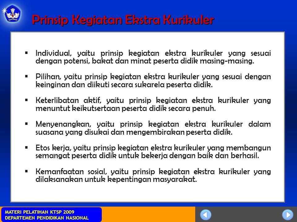 MATERI PELATIHAN KTSP 2009 DEPARTEMEN PENDIDIKAN NASIONAL Prinsip Kegiatan Ekstra Kurikuler  Individual, yaitu prinsip kegiatan ekstra kurikuler yang sesuai dengan potensi, bakat dan minat peserta didik masing-masing.