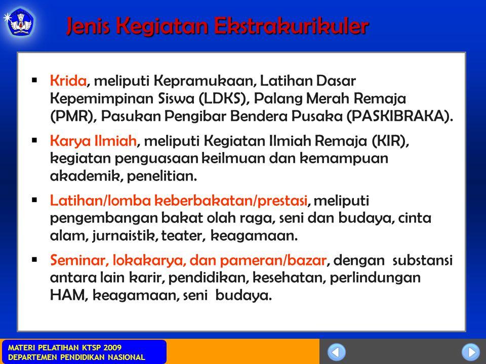 MATERI PELATIHAN KTSP 2009 DEPARTEMEN PENDIDIKAN NASIONAL Jenis Kegiatan Ekstrakurikuler  Krida, meliputi Kepramukaan, Latihan Dasar Kepemimpinan Siswa (LDKS), Palang Merah Remaja (PMR), Pasukan Pengibar Bendera Pusaka (PASKIBRAKA).