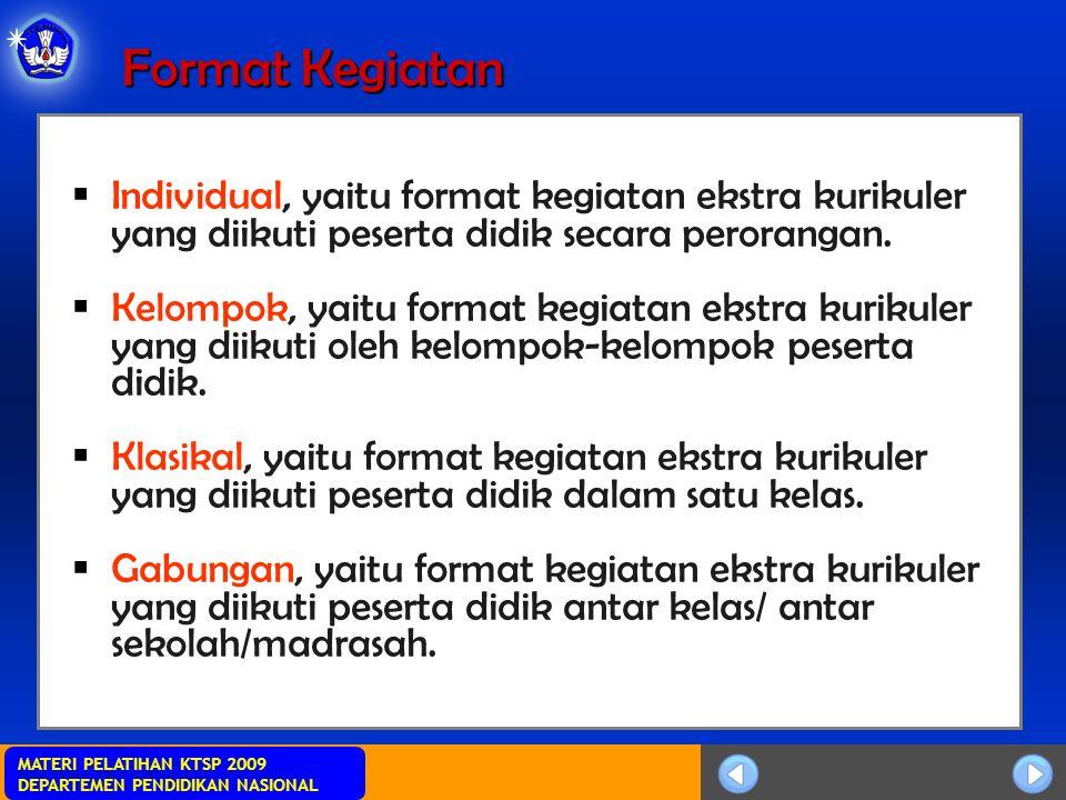 MATERI PELATIHAN KTSP 2009 DEPARTEMEN PENDIDIKAN NASIONAL Format Kegiatan  Individual, yaitu format kegiatan ekstra kurikuler yang diikuti peserta didik secara perorangan.