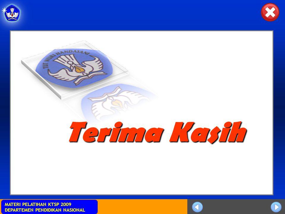 MATERI PELATIHAN KTSP 2009 DEPARTEMEN PENDIDIKAN NASIONAL Terima Kasih