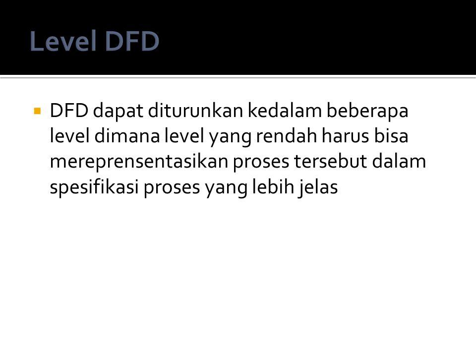  DFD dapat diturunkan kedalam beberapa level dimana level yang rendah harus bisa mereprensentasikan proses tersebut dalam spesifikasi proses yang leb